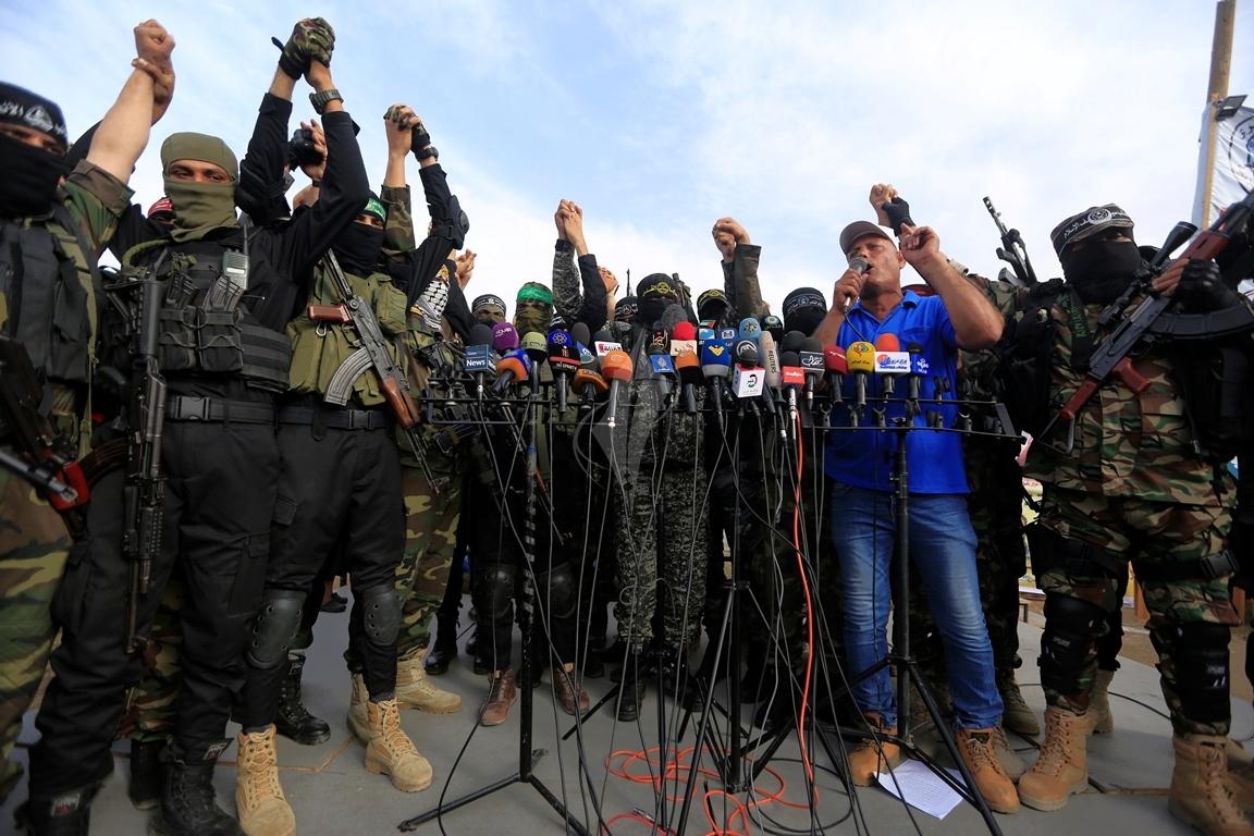 الأذرع العسكرية لفصائل المقاومة الفلسطينية خلال مؤتمر صحفي في غزة (1) 