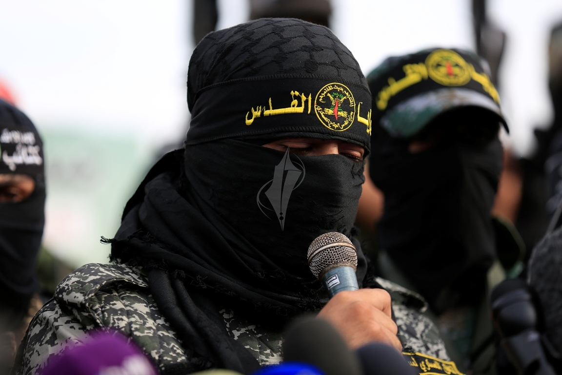 الأذرع العسكرية لفصائل المقاومة الفلسطينية خلال مؤتمر صحفي في غزة (39191054) 