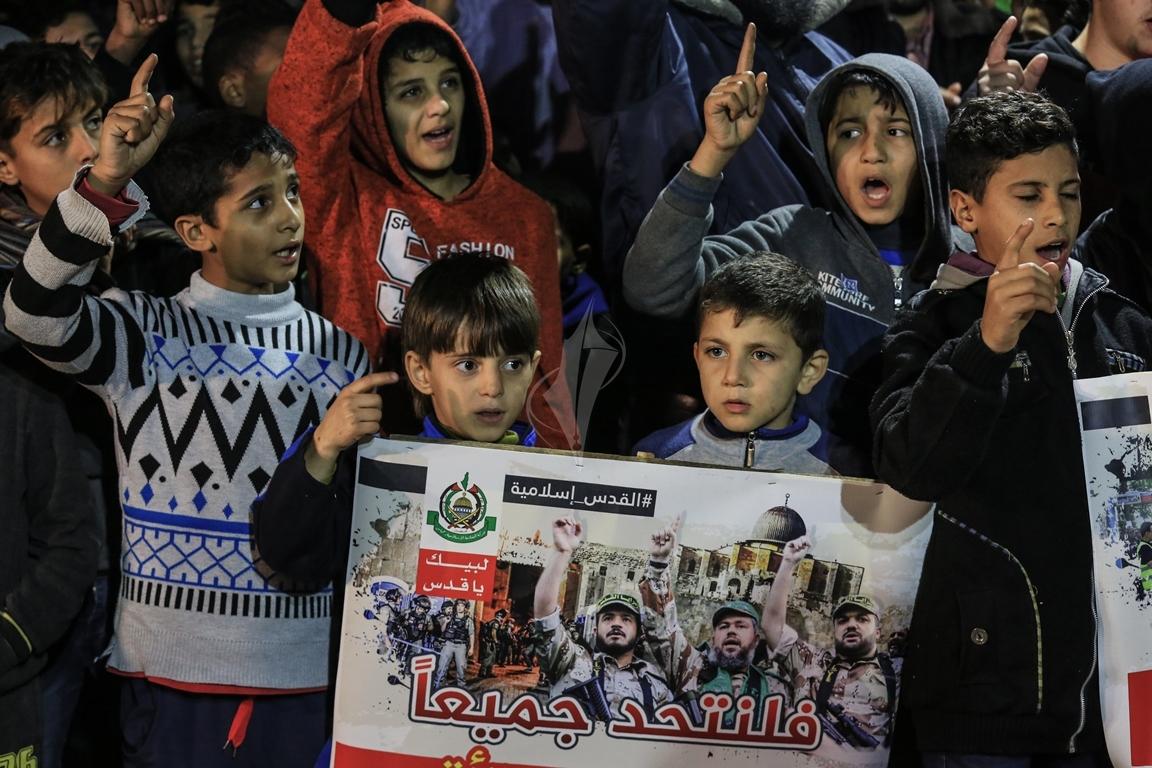 حماس تنظم مسيرة نصرة للقدس ورفضاً للقرارات الأمريكية شمال القطاع (38601221) 