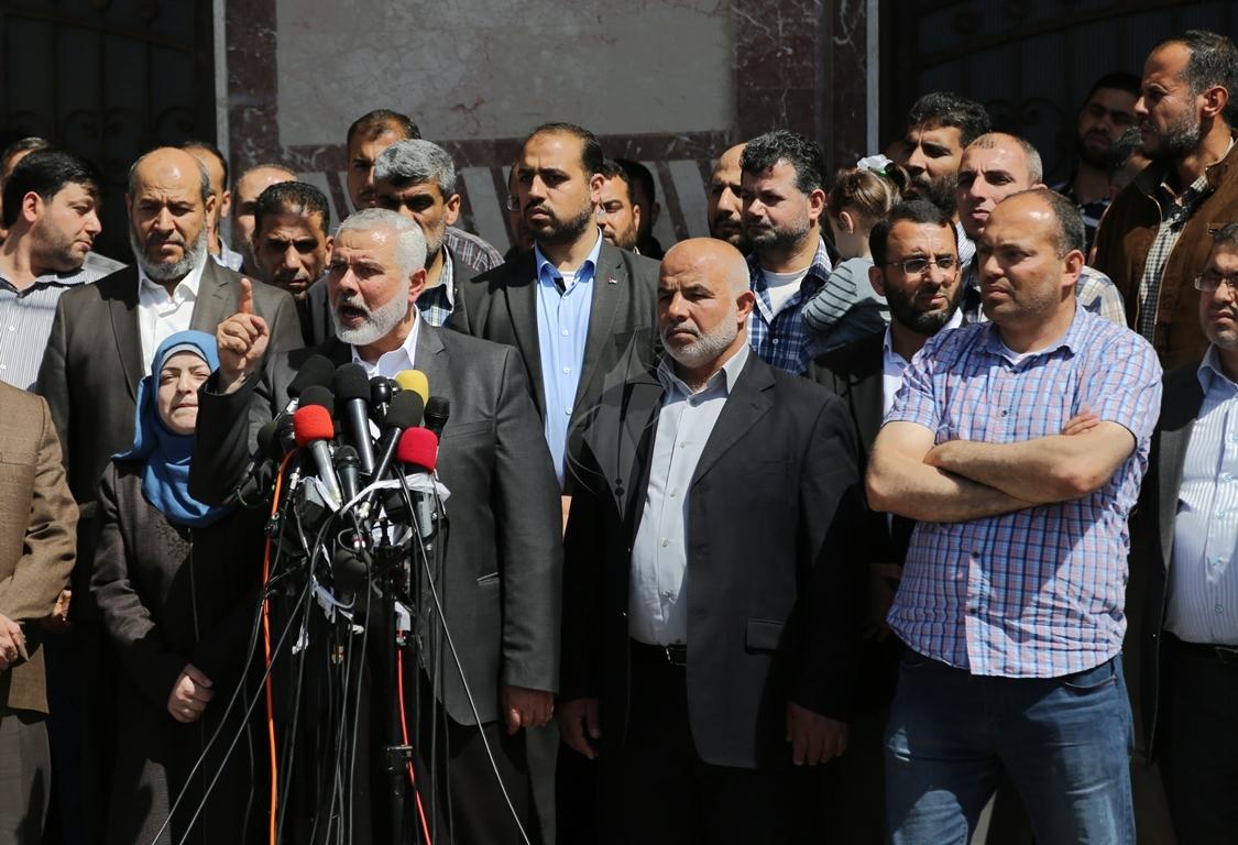 مؤتمر صحفي لقادة حماس في غزة للإعلان عن اعتقال قاتل الشهيد مازن فقها (6)