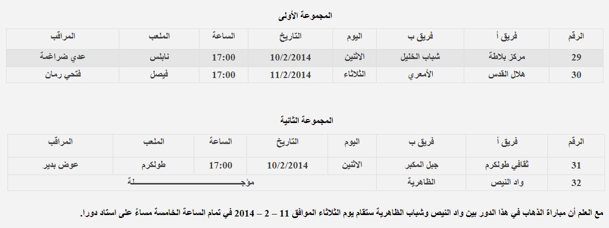 جدول إياب دور الثمانية من بطولة كأس فلسطين