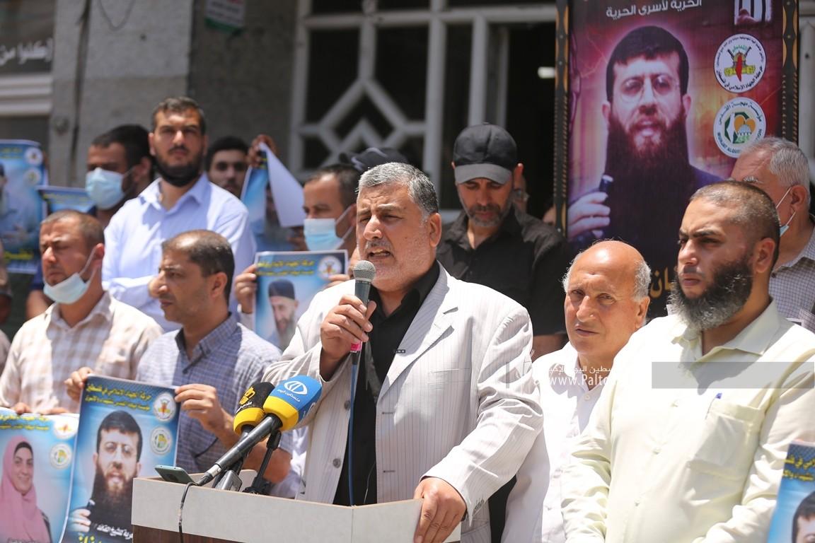 مهجة القدس تنظم وقفة دعم واسناد للشيخ خضر عدنان الذي اعتقلته قوات الاحتلال فجراً (1).JPG