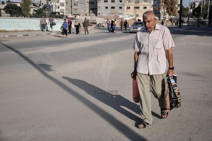 نزوح العشرات من العائلات بغزة  2014