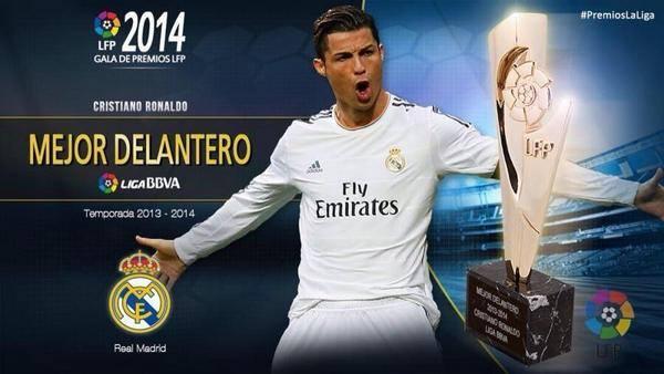 جائزة أفضل مهاجم لكريستيانو رونالدو مهاجم الريال و هداف الدوري بـ 31 هدفاً .