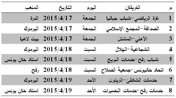 جدول دور الـ16 كأس غزة