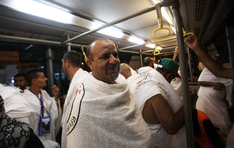 الحجاج الفلسطينين خلال توجههم فى اخر رحلاتهم من غزة إلى السعودية لاداء فريضة الحج