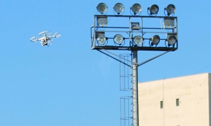 طائرة إستطلاع لتصوير المباريات في غزة