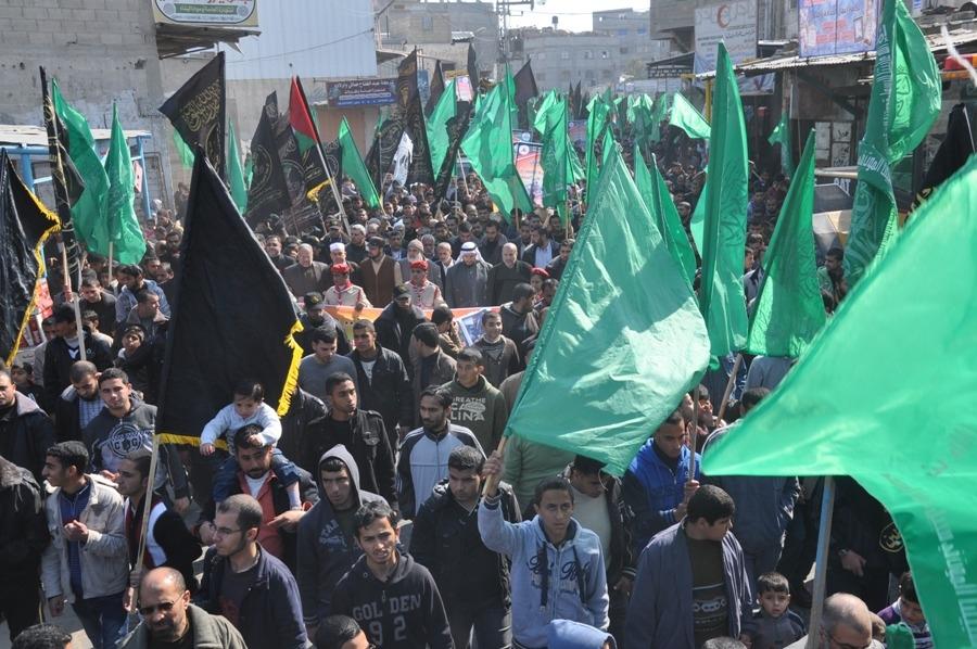 بالصور:الآلاف يشاركون في مسيرة دعت لها الجهاد وحماس رفضاً لخطة كيري