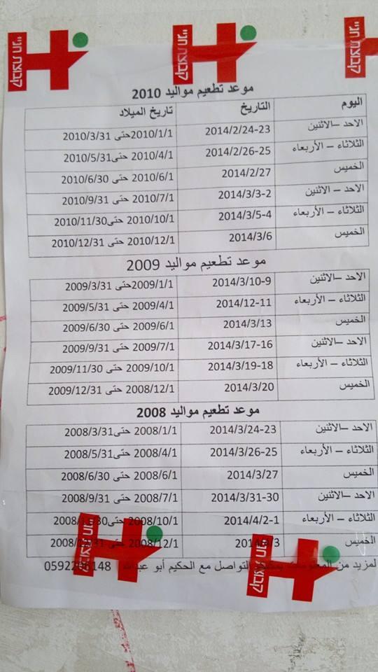 جدول تطعيم