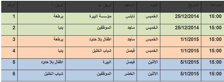 جدول رياضي